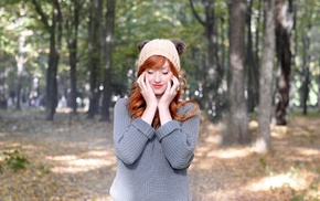 woolly hat, redhead, girl, sweater, long hair, closed eyes