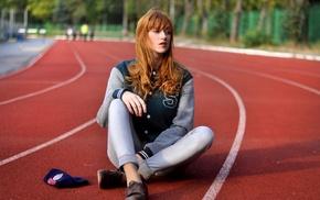 sports jerseys, Alina Kovalenko, girl, looking away, redhead, race tracks