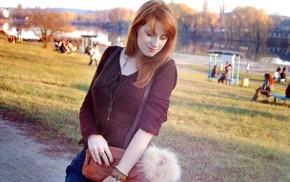 red nails, girl outdoors, Alina Kovalenko, girl, redhead