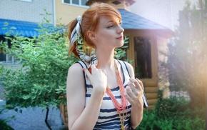 Alina Kovalenko, redhead, ponytail, looking away, striped clothing, girl