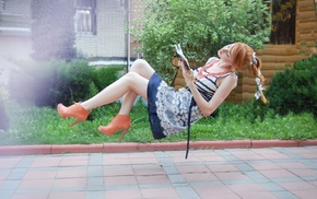 redhead, girl, Alina Kovalenko, reading, books, girl outdoors
