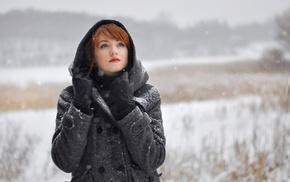 girl, Alina Kovalenko, redhead, girl outdoors, coats, hoods