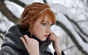 Alina Kovalenko, redhead, girl, girl outdoors, snow, braids
