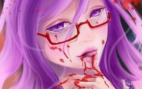 anime girls, Kamishiro Rize, anime, blood, glasses, purple hair