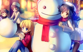 snow, anime, snowman, original characters, anime girls, scarf
