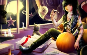 anime girls, anime, original characters, pumpkin, Halloween