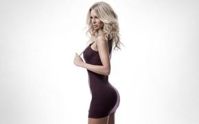 model, ass, dress, minidress, simple background, blonde