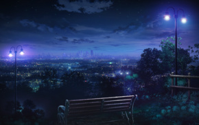 cityscape, hills, lantern, bench, city lights, landscape