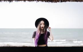 fashion, model, photography, black lipstick, black, lace