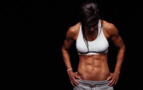 girl, sports bra, model, fitness model, abs, sweat pants