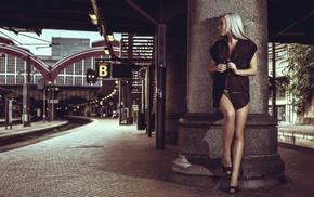 girl, train station, model