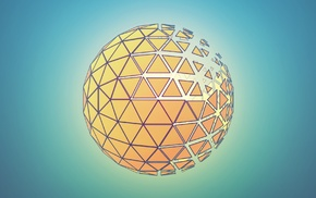 abstract, orange, blue, sphere, Photoshop, Cinema 4D