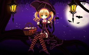 night, blonde, long hair, umbrella, original characters, anime girls