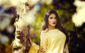 girl, trees, yellow, model, Asian