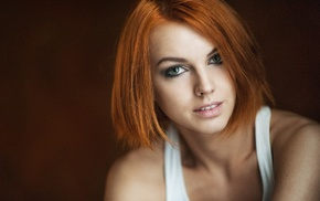 redhead, face, Inessa Rain, depth of field, tank top, portrait