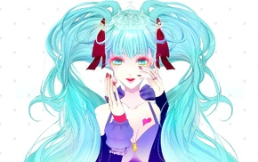 open mouth, aqua hair, twintails, white background, long hair, Vocaloid