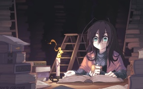 anime, original characters, candles, tea, anime girls, books