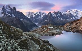 sunset, landscape, nature, glaciers, rock, hut