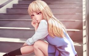 Shiina Mashiro, skirt, anime girls, anime, blonde, socks