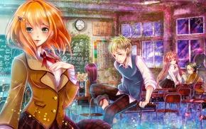 anime, classroom, original characters, school uniform, anime girls