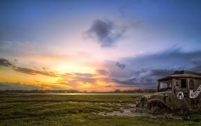 car, landscape, wreck, vehicle