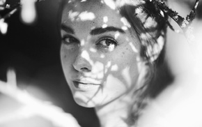 girl, monochrome, face, freckles, Ruby James, looking at viewer