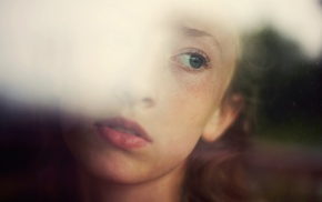 Ruby James, looking out window, girl, blue eyes