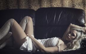 couch, model, socks, girl