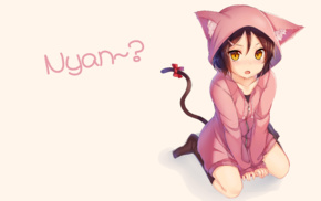 cat girl, brunette, original characters, hoods, anime, nekomimi