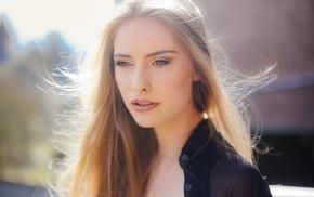 blue eyes, David Olkarny, blonde, portrait, girl, Camille Rochette
