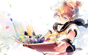 Vocaloid, books, anime, blonde, smiling, anime boys