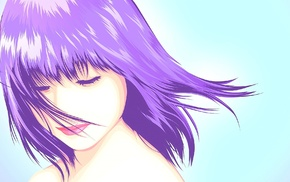 purple hair, short hair, lips, original characters, anime, realistic