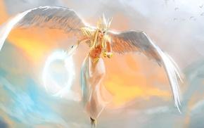 anime, anime girls, angel, original characters, wings