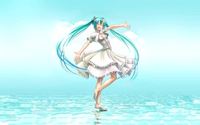 open mouth, dress, closed eyes, wokada, smiling, aqua hair