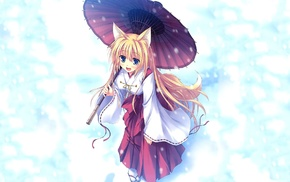 anime girls, snow, kitsunemimi, umbrella, anime, long hair