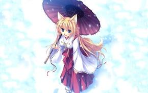 anime girls, snow, kitsunemimi, umbrella, anime, long hair