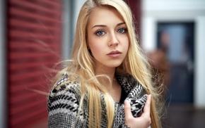 blonde, blue eyes, depth of field, Alex Fetter, braces, girl
