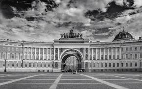monument, Leningrad, Russia, St. Petersburg, monochrome
