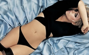 lips, panties, open mouth, eyes, in bed, Billie Piper