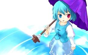 short hair, blue hair, Touhou, anime, Tatara Kogasa, umbrella