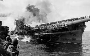 monochrome, World War II, uss franklin, military, aircraft carrier