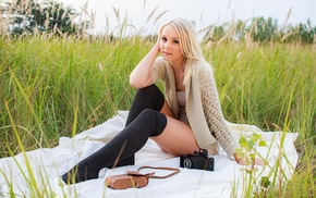 blonde, girl, picnic, camera, knee, highs