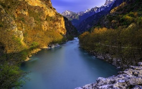 blue, mountains, water, trees, shrubs, river