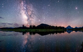 long exposure, starry night, mountains, landscape, nature, reflection