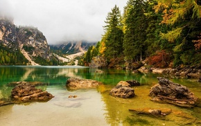 forest, overcast, mountains, lake, fall, landscape