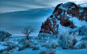 winter, snow, nature, sunset, shrubs, Arches National Park