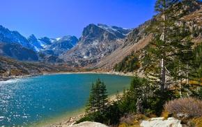 lake, snowy peak, mountains, nature, trees, Colorado