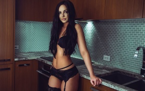 lingerie, panties, garter belt, stockings, model, kitchen