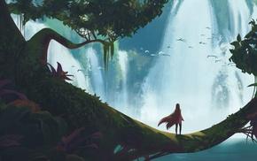 waterfall, fantasy art, trees, lake, birds