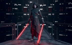 artwork, Star Wars, Asajj Ventress, lightsaber, black outfits